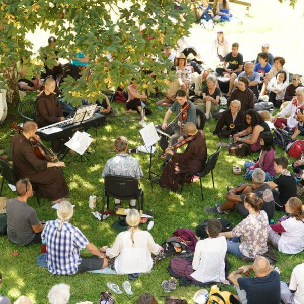 People gathering at 21 day retreat to listen to music