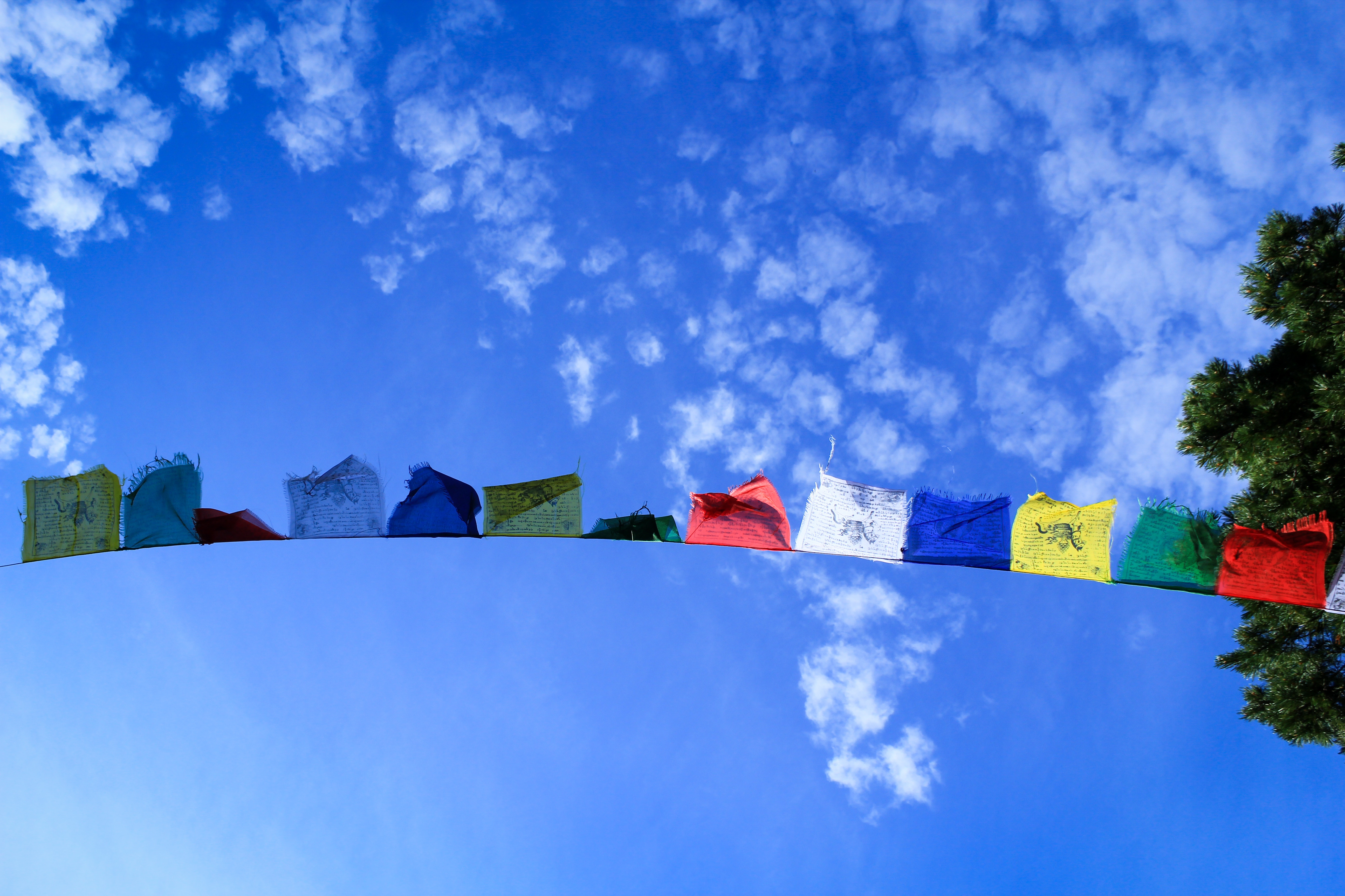 Prayer flags against blue sky